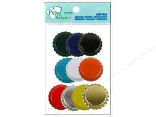Bottle Tips / Bottle Tops: Paper Accents Bottle Caps 10pc Assorted Colors