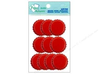 Paper Accents Bottle Caps 10pc Red