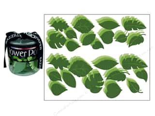 Bazzill Flowers Pot Paper Leaves Bling Green 108pc