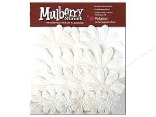 Petaloo Mulberry Daisy Embossed White 18pc