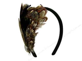 "Hair Comb / Headband: Midwest Design Headband Feather 5.4x4.25"" Nat/Slvr"