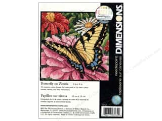 Dimensions Needlepoint Kit 5x5&quot; Bttrfly On Zinnia