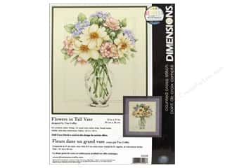Weekly Specials Glass: Dimensions Counted Cross Stitch Kit 12 x 14 in. Flowers In Tall Vase
