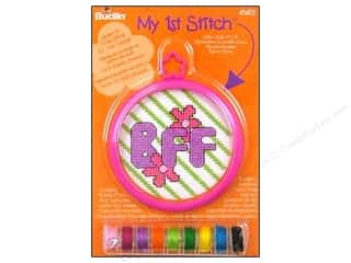 "Cross Stitch Project 16"": Bucilla Counted Cross Stitch Kit 3 in. Mini BFF"