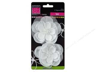 "Bazzill Flowers Organza 3"" Snow 2pc"