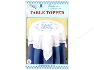 "Stamped Goods Stamped Tablecloths: Jack Dempsey Table Topper White 35"" XX Americana"