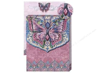 Magnets Punch Studio Decorative Magnet: Punch Studio Pocket Note Pad Glitter Butterfly