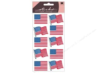 Independence Day Gifts & Giftwrap: EK Sticko Stickers Metallic Waving Flags