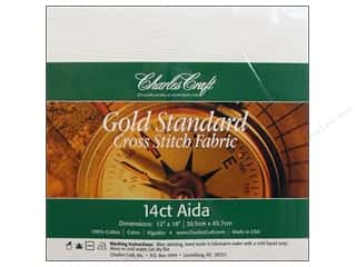 Cross Stitch Cloth / Aida Cloth: Charles Craft Gold Standard 14-count Aida Cloth 12 x 18 in. White