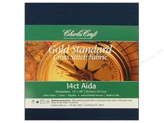 Cross Stitch Cloth / Aida Cloth: Charles Craft Gold Standard Aida 12x18 14ct Navy