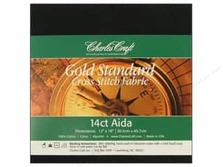 Cross Stitch Cloth / Aida Cloth: Charles Craft Gold Standard Aida 12x18 14ct Black