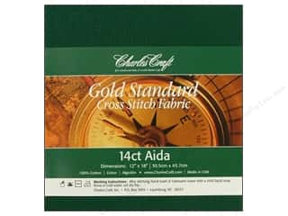 Cross Stitch Cloth / Aida Cloth: Charles Craft Gold Standard Aida 12x18 14ct Hunter