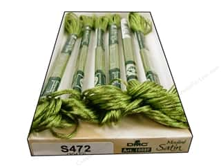 Floss Rayon Floss: DMC Satin Embroidery Floss #S472 Tender Green (6 skeins)
