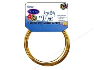 16 ga wire: Darice Jewelry Wire Aluminum 16Ga Gold 3yd