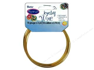"stem wire 18"": Darice Jewelry Wire Aluminum 18Ga Gold 3yd"