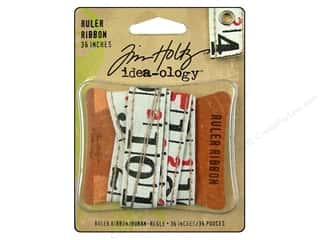 Measuring Tapes/Gauges: Tim Holtz Idea-ology Ribbon Ruler Beige 1yd