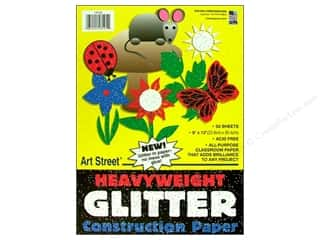 Art Street Cnstrctn Paper Pkg 9x12&quot; Glitter 50pc