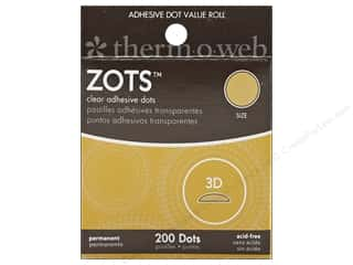 Glue and Adhesives $1 - $3: Therm O Web Zots Clear Adhesive Dots 200 pc. 1/2 x 1/8 in. Singles 3D