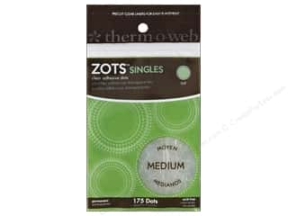 Glue Dots Double-sided Tape: Therm O Web Zots Clear Adhesive Dots 3/8 x 1/64 in. Singles Medium 175 pc.