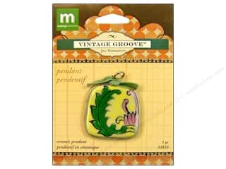 Making Memories Charms: Making Memories Pendant Vintage Groove Ceramic Vine