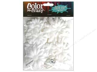 Petaloo Color Me Flowers VP Fabric Glit White 50pc