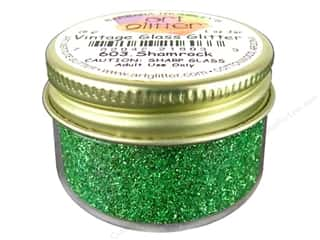 March Madness Sale Glitter Blast: Fine Vintage Glass Glitter Shamrock 1 oz.