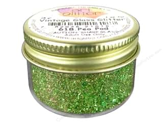 Fine Vintage Glass Glitter Pea Pod 1 oz.
