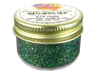 Holiday Gift Ideas Sale Art: Fine Vintage Glass Glitter Holly 1 oz.