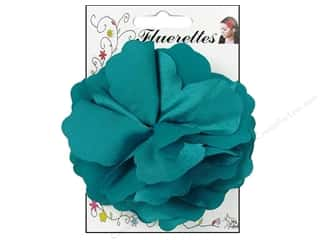 Mark Richards Fluerettes Flower Satin Turquoise