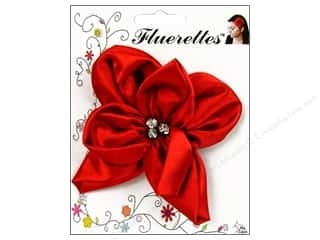 Mark Richards: Mark Richards Fluerettes Flower Satin with Rhinestones Red