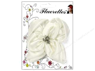 Mark Richards: Mark Richards Fluerettes Flower Satin with Rhinestones White