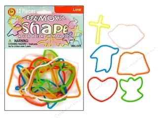 Elastic Clearance Crafts: Pepperell Memory Rubber Bands Love 12pc
