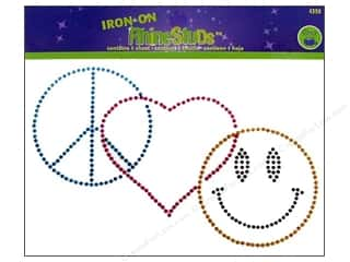 Dritz Iron On RhineStuds Medium Peace Love Happiness