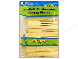 Push Pins Art, School & Office: Woodsies No-Roll Slotted Clothespins 40 pc.