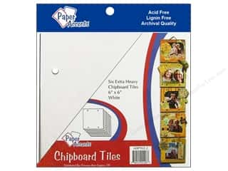 "Paper Accents CYO Chipboard Tiles 6""x 6"" White 5pc"