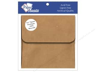 Envelopes Brown: 6 1/2 x 6 1/2 in. Envelopes Paper Accents 8 pc. Brown Bag - 100% Recycled paper