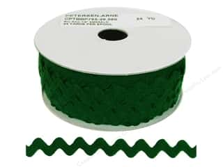 Ribbon Work Tapes: Ric Rac by Cheep Trims  1/2 in. Emerald (24 yards)