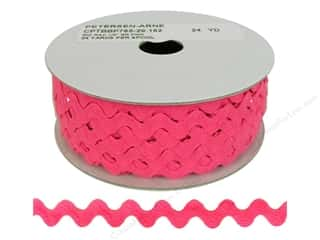 Ribbon Work Tapes: Ric Rac by Cheep Trims  1/2 in. Bright Pink (24 yards)