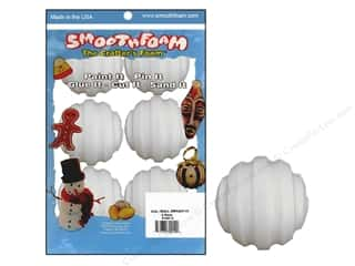 "Smoothfoam Ornament Screwball Package 2"" Wht 6pc"