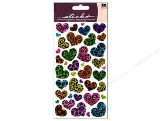 Plus Hearts: EK Sticko Stickers Sparkler Animal Print Hearts