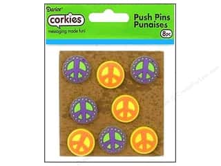 Darice Corkies Push Pin Peace Sign 8pc