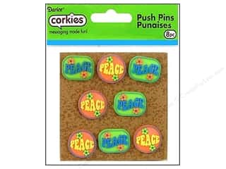 Push Pins Blue: Darice Corkies Push Pin Peace 8 pc.