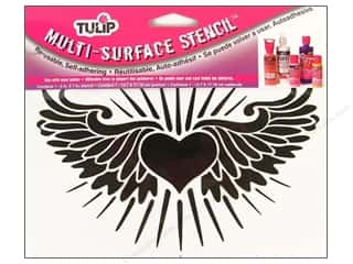 Tulip Multi Surface Stencil Medium Heart Wings 5 x 7 in.