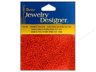 Beading & Jewelry Making Supplies Spring: Darice Beads Jewelry Designer Seed 10/0 Opaque Red
