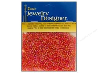 Templates Beading & Jewelry Making Supplies: Darice Beads Jewelry Designer Seed 10/0 Transparent Red AB