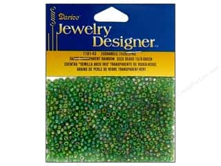 Glasses Beading & Jewelry Making Supplies: Darice Beads Jewelry Designer Seed 10/0 Transparent Green AB