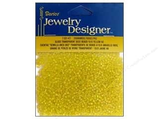 Foam Beading & Jewelry Making Supplies: Darice Beads Jewelry Designer Seed 10/0 Transparent Yellow AB