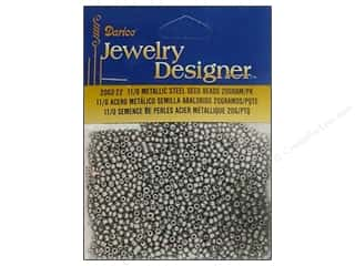 Beading & Jewelry Making Supplies Black: Darice Beads Jewelry Designer Seed 11/0 Metallic Steel