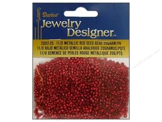 Rhinestones Beading & Jewelry Making Supplies: Darice Beads Jewelry Designer Seed 11/0 Metallic Red