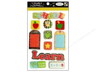 Back to School: DieCuts Sticker Pop Up Felt Grade School Glitter